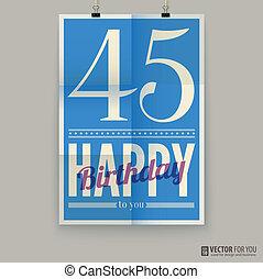 αφίσα , κάρτα , forty-five, χρόνια , γενέθλια , old., ευτυχισμένος