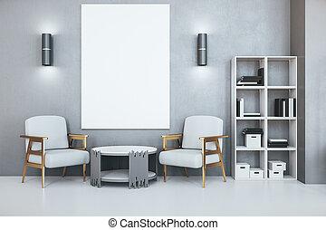 αφίσα , κενό , σύγχρονος , αναμονή , γραφείο , δωμάτιο , τοίχοs