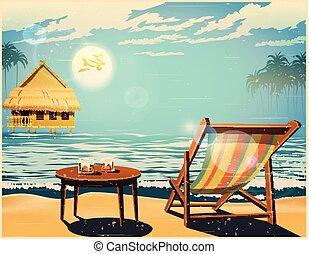 αφίσα , deckchair , ηλιοβασίλεμα , retro