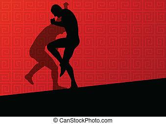 αφαιρώ , άντρεs , πάλη , ρωμαϊκός , εικόνα , ελληνικά , απεικονίζω σε σιλουέτα , μικροβιοφορέας , φόντο , δραστήριος , αγώνισμα