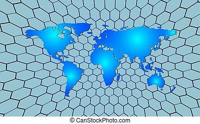 αφαιρώ , ανθρώπινη ζωή και πείρα αντιστοιχίζω , επάνω , ένα , φόντο , από , hexagons., μικροβιοφορέας , εικόνα
