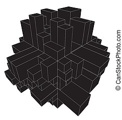 αφαιρώ , αστικός , πόλη , κουτιά , από , κύβος
