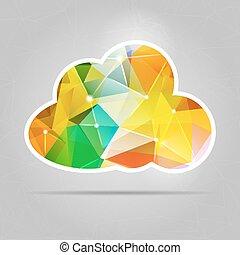 αφαιρώ , γραφικός , τρίγωνο , polygonal, σύνεφο , εικόνα , για , γραφικός , desi