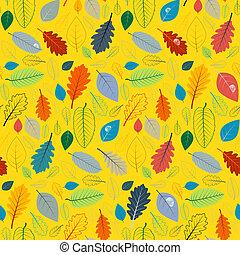 αφαιρώ , κίτρινο , seamless, πρότυπο , με , φύλλα