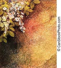 αφαιρώ , λουλούδι , νερομπογιά , painting., χέρι , απεικονίζω , άσπρο , κίτρινο , και , κόκκινο , κισσός , λουλούδια , και , φύλλο , επάνω , τοίχοs , grunge , πλοκή , φόντο
