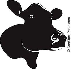 αφαιρώ , μαύρο , κεφάλι , αγελάδα