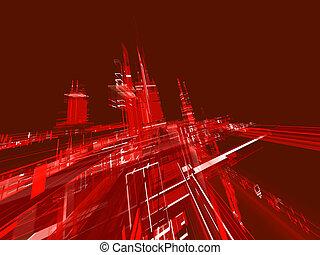 αφαιρώ , φόντο , φωσφορίζων , κόκκινο , αστικός