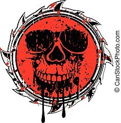 αφαιρώ , grunge , κόκκινο , σήμα , κρανίο
