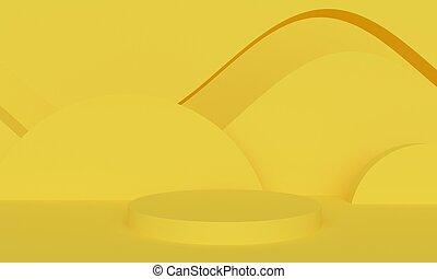 αφαιρώ , platform., κίτρινο , απόδοση , φόντο , γεωμετρικός , 3d