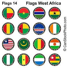 αφρική. , δυτικός , κόσμοs , flags.