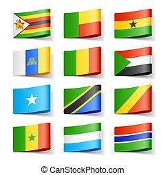 αφρική. , flags., κόσμοs