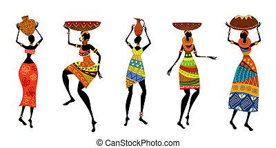 αφρικανός , γυναίκεs , μέσα , καθιερωμένος ενδύω