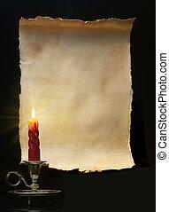 αόρ. του light , κρασί , ρολό , κερί