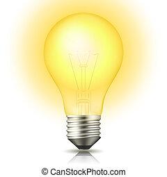 αόρ. του light , λαμπτήρας φωτισμού