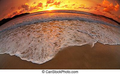 αόρ. του shoot , οκεανόs , φακόs , ηλιοβασίλεμα , θάλασσα , παραλία , ή , fisheye