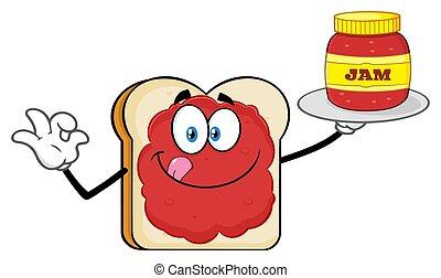 βάζο , χαρακτήρας , δείγμα , πελτέs , κράτημα , άσπρο , γουρλίτικο ζώο , γελοιογραφία , bread