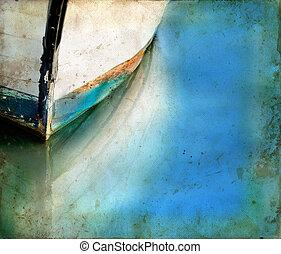βάρκα , δοξάρι , και , αντανάκλαση , επάνω , ένα , grunge ,...