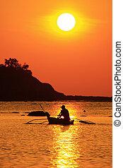 βάρκα , ηλιοβασίλεμα , ψάρεμα