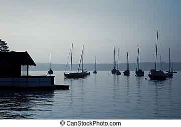 βάρκα , νωρίs , διάθεση , πρωί