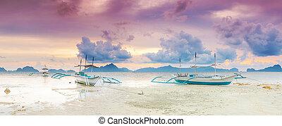 βάρκα , πανόραμα , sunset.