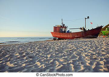 βάρκα , παραλία , ψαράs , ανατολή , ώρα