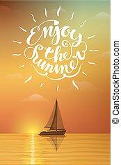 βάρκα , σε , ηλιοβασίλεμα