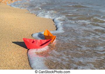 βάρκα , χαρτί , παραλία