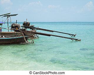 βάρκα , longtail, andaman , δυο , θάλασσα