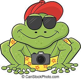 βάτραχος , επειδή , ένα , περιηγητής , με , φωτογραφηκή μηχανή , και , γυαλλιά ηλίου