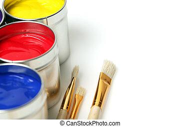 βάφω , πινέλα ζωγραφικής και βαψίματος , cans