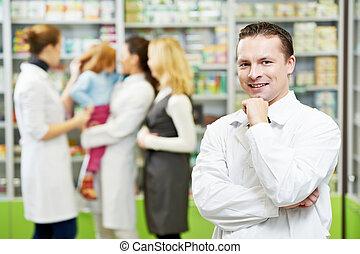 βέβαιος , άντραs , φαρμακείο , φαρμακοποιός , φαρμακευτική