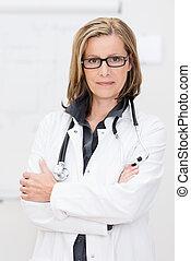 βέβαιος , γυναίκα , ελκυστικός , γιατρός