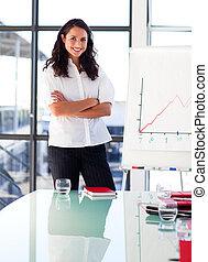 βέβαιος , παρουσίαση , χορήγηση , πριν , επιχειρηματίαs γυναίκα , αγκαλιά ανάποδος