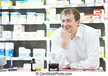 βέβαιος , φαρμακευτική , φαρμακοποιός , άντραs , μέσα , φαρμακείο