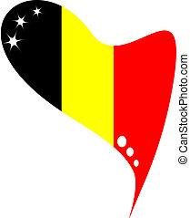 βέλγιο , μέσα , heart., σημαία , από , βέλγιο