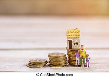 βήμα , επιχειρηματίας , παιχνίδι , μινιατούρα , οικογένεια , κέρματα , ακάθιστος , house., people: