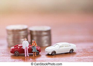 βήμα , χρήματα , επιχειρηματίας , επινοώ , γυναίκεs , παιχνίδι , μινιατούρα , άμαξα αυτοκίνητο. , ακάθιστος , people: