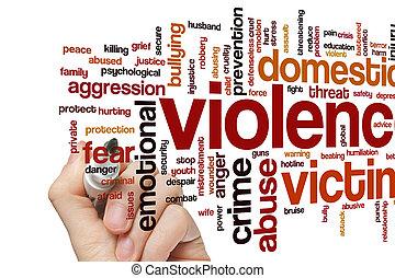 βία , λέξη , σύνεφο , κύπελο