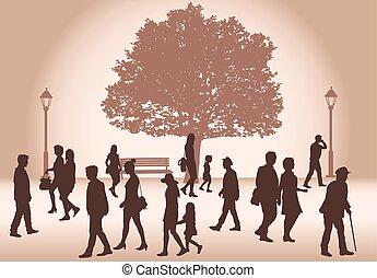 βαδίζω. , όχλος , άνθρωποι
