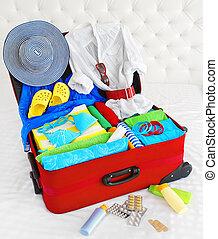 βαλίτσα , ανοίγω , αγέλη , άδεια διανύω , τσάντα , αποσκευέs , γεμάτος , από , ρούχα , αποσκευές , για , ακμή άδεια