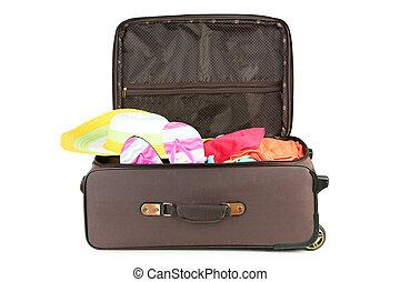 βαλίτσα , με , γεμάτος , από , ρούχα