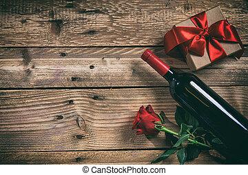 βαλεντίνη , day., κόκκινο κρασί , μπουκάλι , τριαντάφυλλο ,...