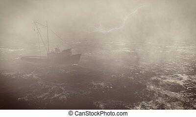 βαρύς , αλιέας , ανοιχτή θάλασσα , καταιγίδα