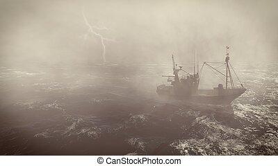 βαρύς , βάρκα , αστραπή , ψάρεμα , καταιγίδα