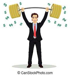 βαρύς , δύναμη , οικονομικός , επιχείρηση , αναχωρώ. , δολάριο , πάνω , εικόνα , barbell , μικροβιοφορέας , επιχειρηματίας , concept., αίρω