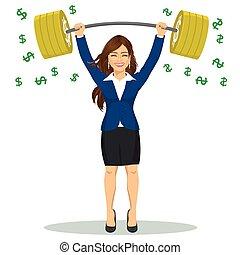 βαρύς , δύναμη , οικονομικός , επιχείρηση , επιχειρηματίαs γυναίκα , αναχωρώ. , δολάριο , πάνω , εικόνα , barbell , μικροβιοφορέας , concept., αίρω