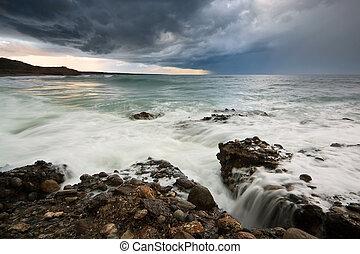βαρύς , πάνω , greece., καταιγίδα , θάλασσα