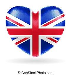 βασίλειο , καρδιά , ενωμένος , αγγλία , σημαία , σχήμα , μικροβιοφορέας