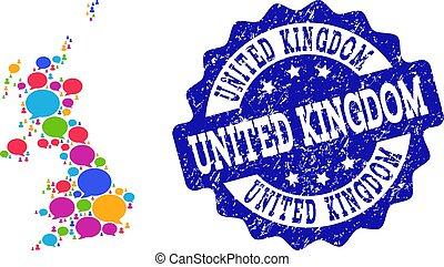 βασίλειο , χάρτηs , ενωμένος , θαμπάδα , δίκτυο , textured , κουβέντα , σφραγίζω , κοινωνικός