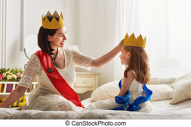 βασίλισσα , και , πριγκίπισα , μέσα , χρυσός , αγκώνας αγκύρας
